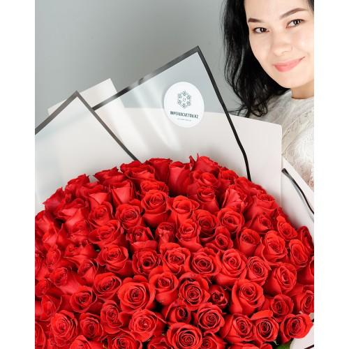 Купить на заказ Букет из 101 красной розы с доставкой в Аральске