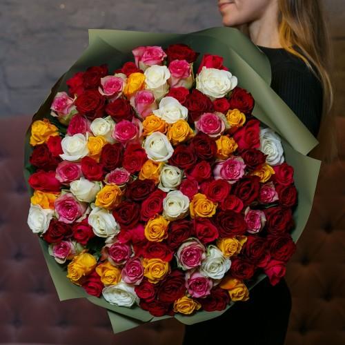 Купить на заказ Букет из 101 розы (микс) с доставкой в Аральске